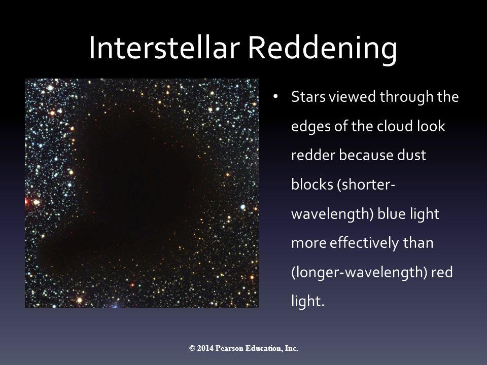 Interstellar Reddening Stars viewed through the edges of the cloud look redder because dust blocks (shorter- wavelength) blue light more effectively t