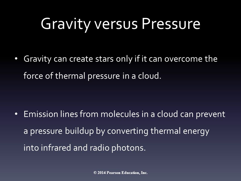 Gravity versus Pressure Gravity can create stars only if it can overcome the force of thermal pressure in a cloud. Emission lines from molecules in a