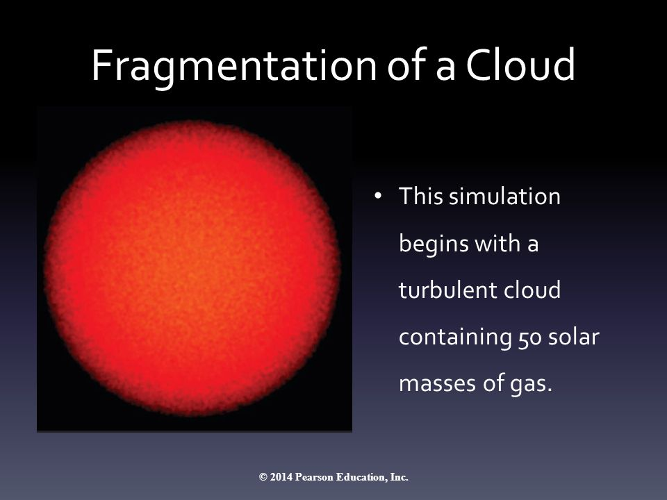 Fragmentation of a Cloud This simulation begins with a turbulent cloud containing 50 solar masses of gas.