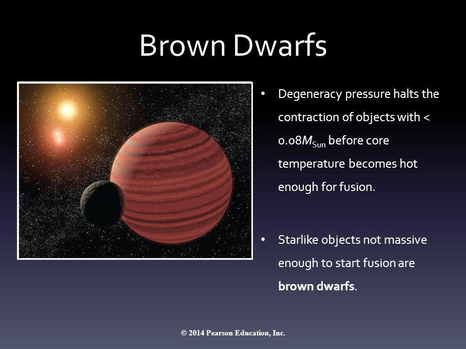 Brown Dwarfs Degeneracy pressure halts the contraction of objects with < 0.08M Sun before core temperature becomes hot enough for fusion. Starlike obj