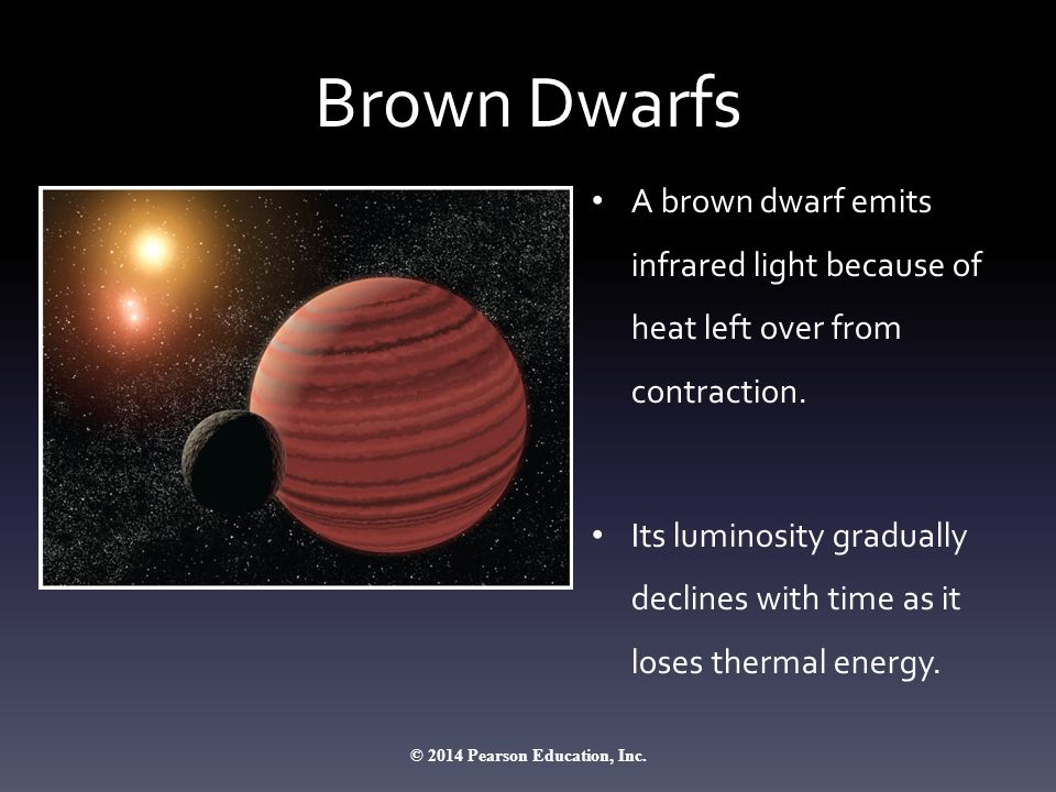 Brown Dwarfs A brown dwarf emits infrared light because of heat left over from contraction. Its luminosity gradually declines with time as it loses th