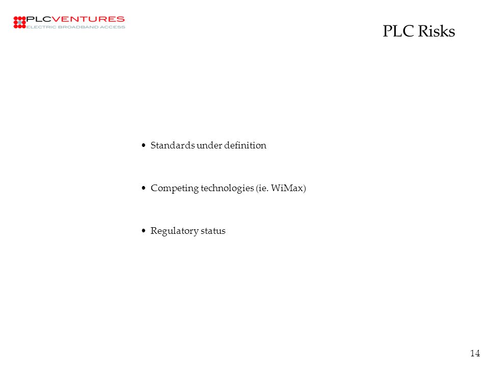 14 PLC Risks Standards under definition Competing technologies (ie. WiMax) Regulatory status