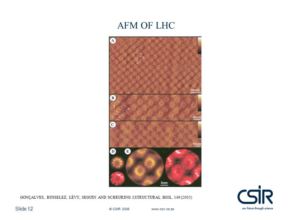 Slide 12 © CSIR 2006 www.csir.co.za AFM OF LHC GONÇALVES, BUSSELEZ, LÉVY, SEGUIN AND SCHEURING J,STRUCTURAL BIOL. 149 (2005)