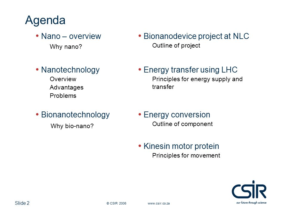 Slide 2 © CSIR 2006 www.csir.co.za Agenda Nano – overview Why nano? Bionanodevice project at NLC Outline of project Nanotechnology Overview Advantages