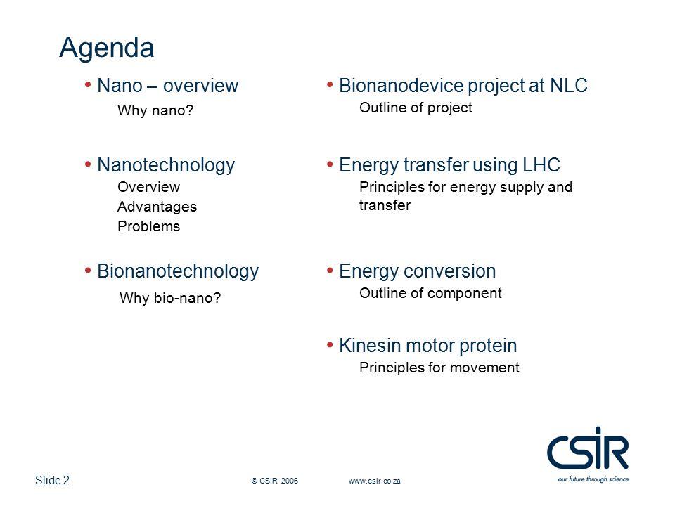 Slide 2 © CSIR 2006 www.csir.co.za Agenda Nano – overview Why nano.