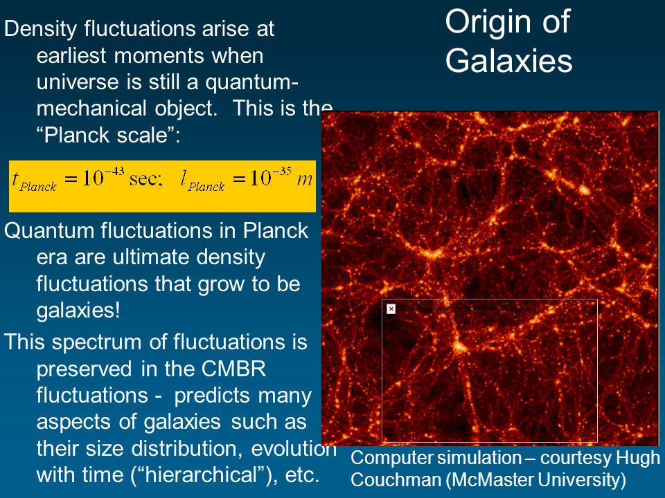 Origin of Galaxies Density fluctuations arise at earliest moments when universe is still a quantum- mechanical object.