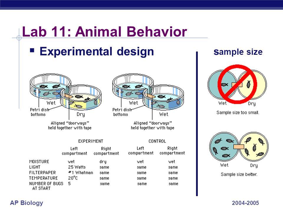 AP Biology 2004-2005 Lab 11: Animal Behavior  Experimental design s ample size