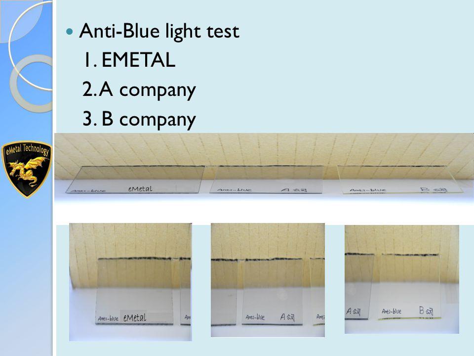 Anti-Blue light test 1. EMETAL 2. A company 3. B company