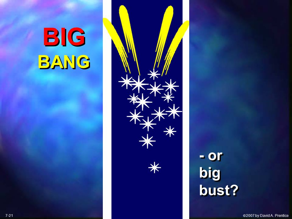  2007 by David A. Prentice BIG BANG - or big bust 7-21