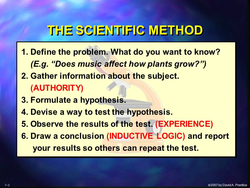 " 2007 by David A. Prentice THE SCIENTIFIC METHOD 1. Define the problem. What do you want to know? (E.g. ""Does music affect how plants grow?"") 2. Gat"