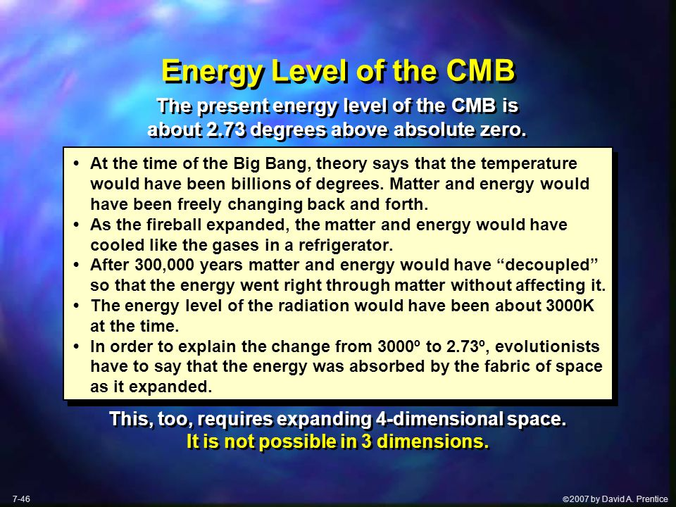  2007 by David A. Prentice Energy Level of the CMB At the time of the Big Bang, theory says that the temperature would have been billions of degrees