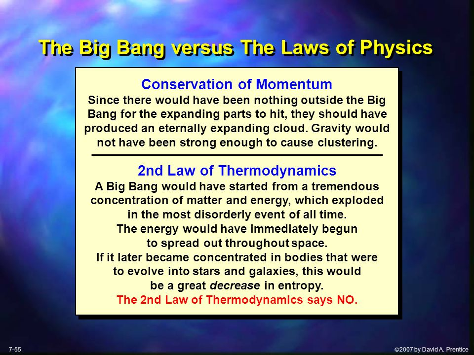  2007 by David A. Prentice The Big Bang versus The Laws of Physics Conservation of Momentum Since there would have been nothing outside the Big Bang