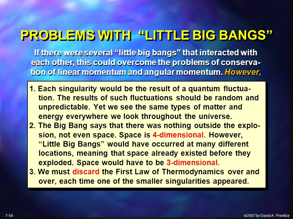 " 2007 by David A. Prentice PROBLEMS WITH ""LITTLE BIG BANGS"" 1. Each singularity would be the result of a quantum fluctua- tion. The results of such"