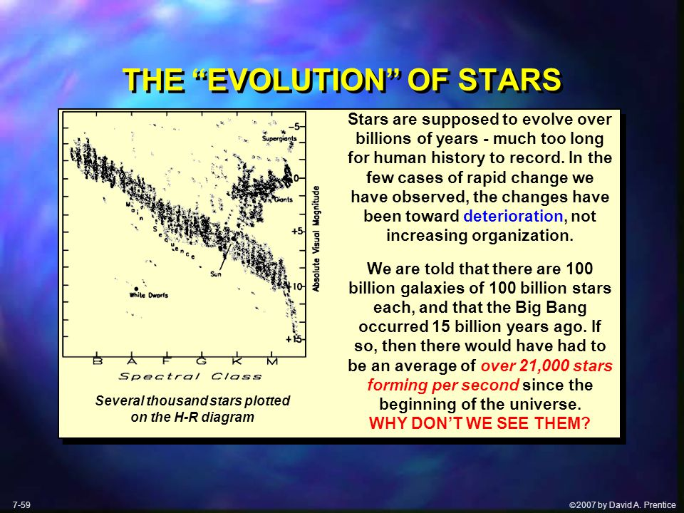 " 2007 by David A. Prentice THE ""EVOLUTION"" OF STARS Stars are supposed to evolve over billions of years - much too long for human history to record."
