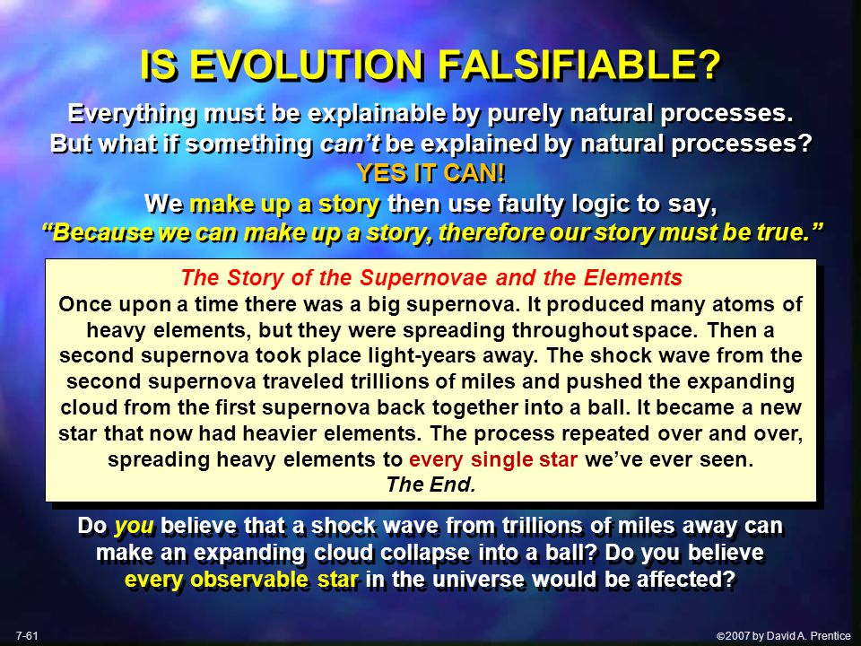  2007 by David A. Prentice IS EVOLUTION FALSIFIABLE.