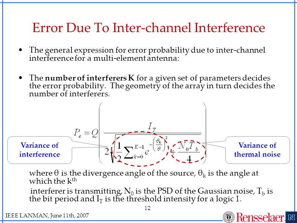 IEEE LANMAN, June 11th, 2007 12 Error Due To Inter-channel Interference The general expression for error probability due to inter-channel interference for a multi-element antenna: The number of interferers K for a given set of parameters decides the error probability.