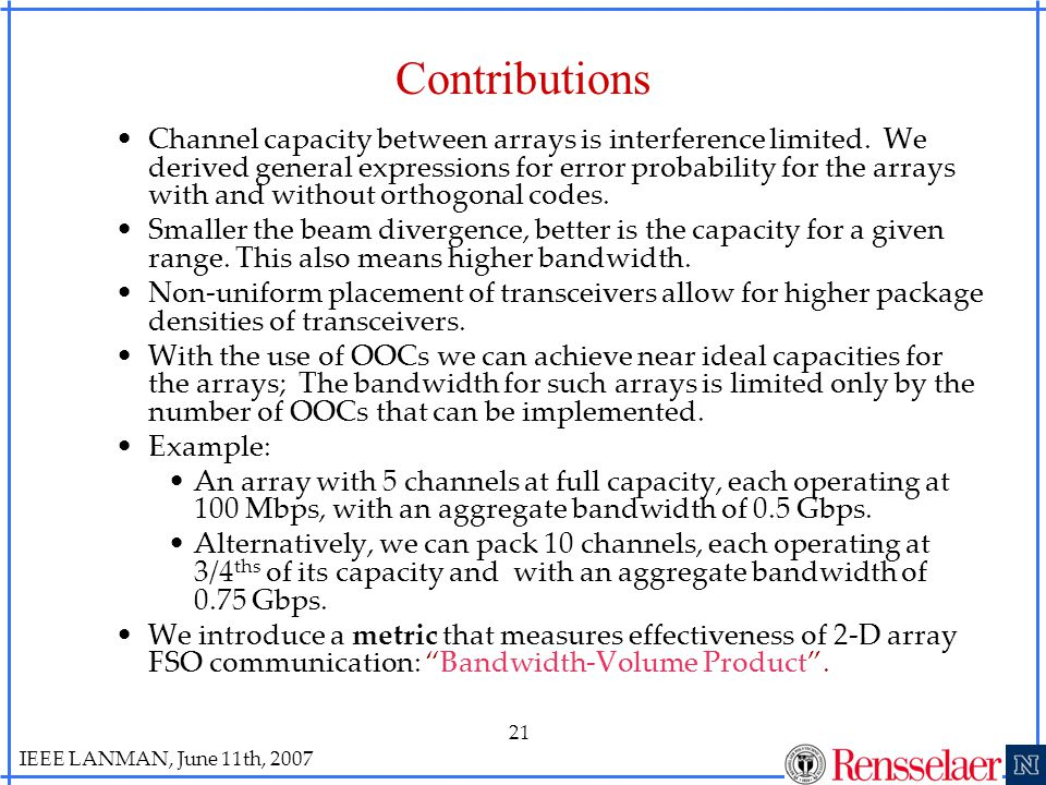 IEEE LANMAN, June 11th, 2007 21 Contributions Channel capacity between arrays is interference limited.
