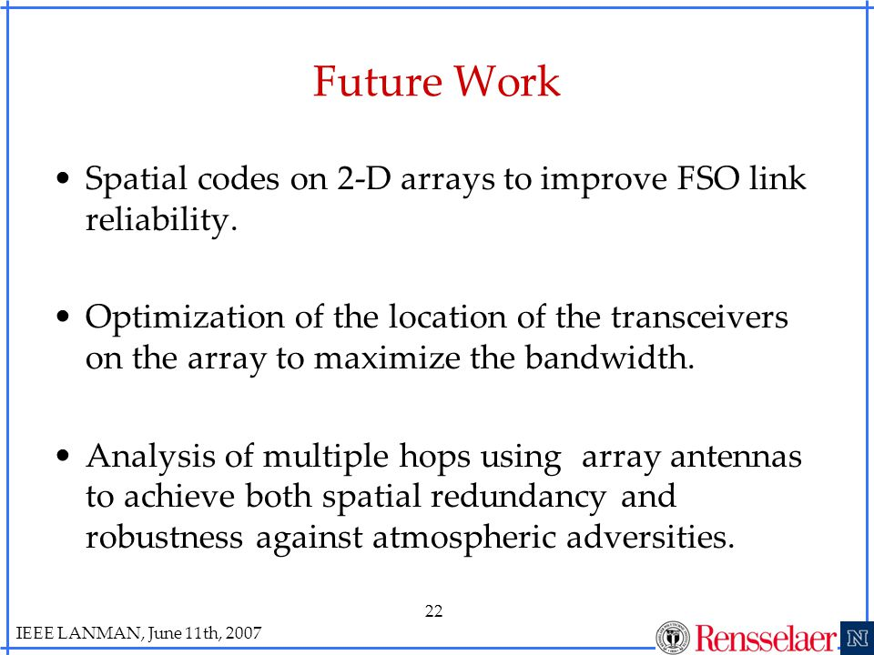 IEEE LANMAN, June 11th, 2007 22 Future Work Spatial codes on 2-D arrays to improve FSO link reliability.