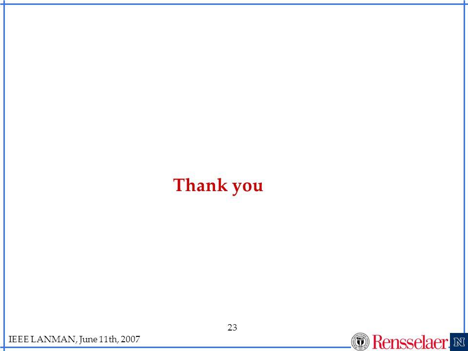 IEEE LANMAN, June 11th, 2007 23 Thank you