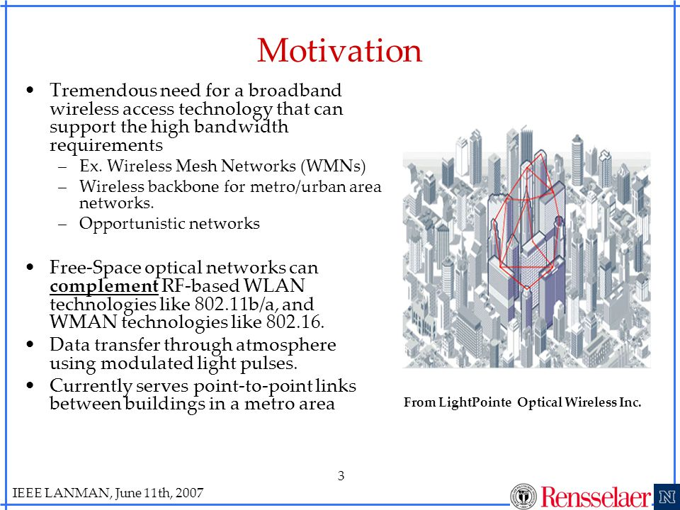 IEEE LANMAN, June 11th, 2007 3 Motivation Tremendous need for a broadband wireless access technology that can support the high bandwidth requirements –Ex.