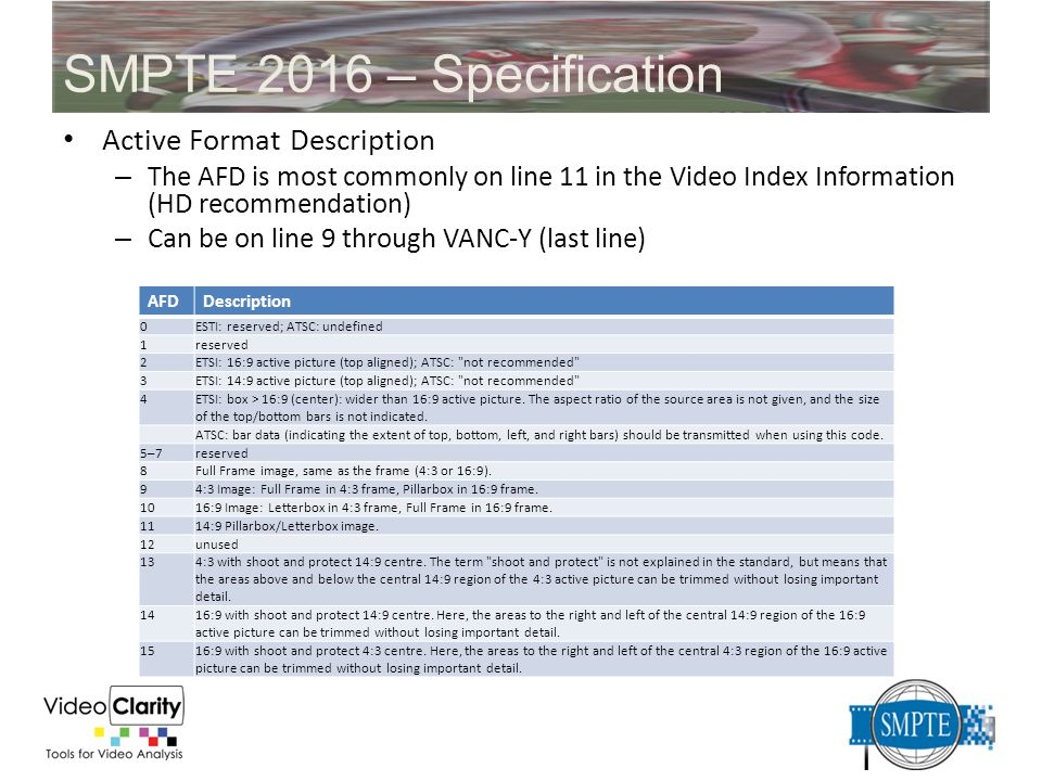 SMPTE 2016 – Specification Active Format Description – The AFD is most commonly on line 11 in the Video Index Information (HD recommendation) – Can be