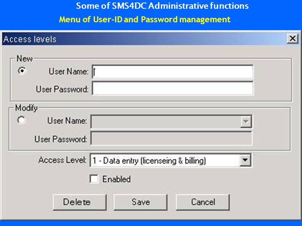 Some of SMS4DC Administrative functions Menu of User-ID and Password management