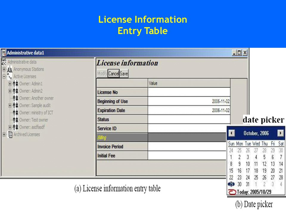 License Information Entry Table