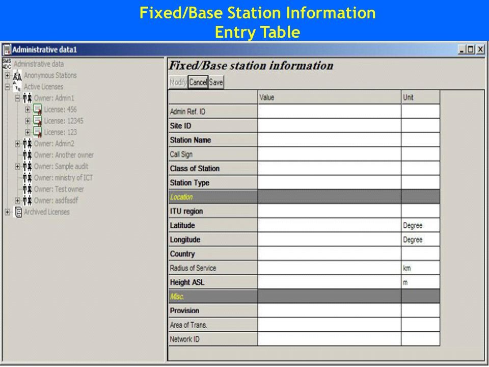 Fixed/Base Station Information Entry Table