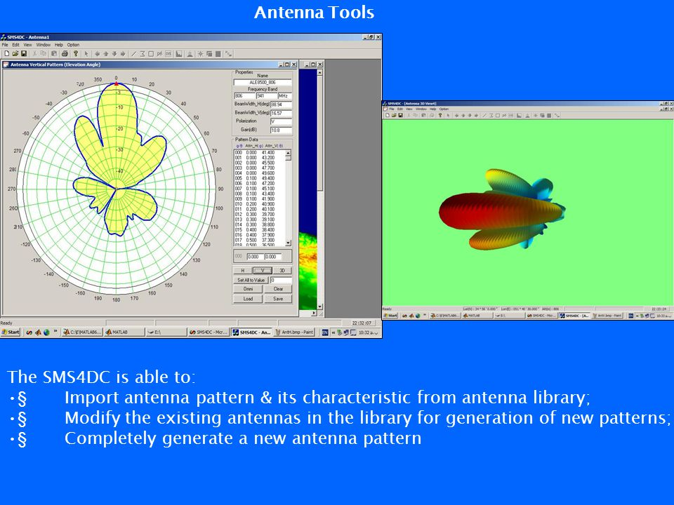 The SMS4DC is able to: § Import antenna pattern & its characteristic from antenna library; § Modify the existing antennas in the library for generatio