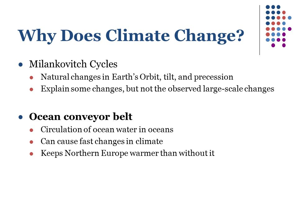 Why Does Climate Change? Milankovitch Cycles Natural changes in Earth's Orbit, tilt, and precession Explain some changes, but not the observed large-s
