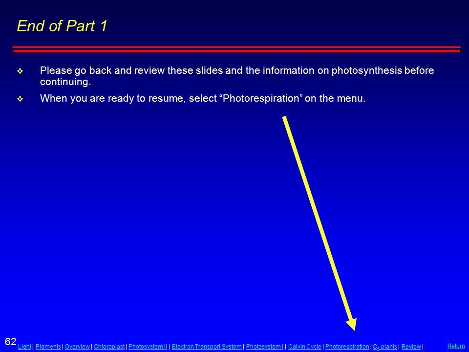 62 LightLight | Pigments | Overview | Chloroplast | Photosystem II | Electron Transport System | Photosystem I | Calvin Cycle | Photorespiration | C 4