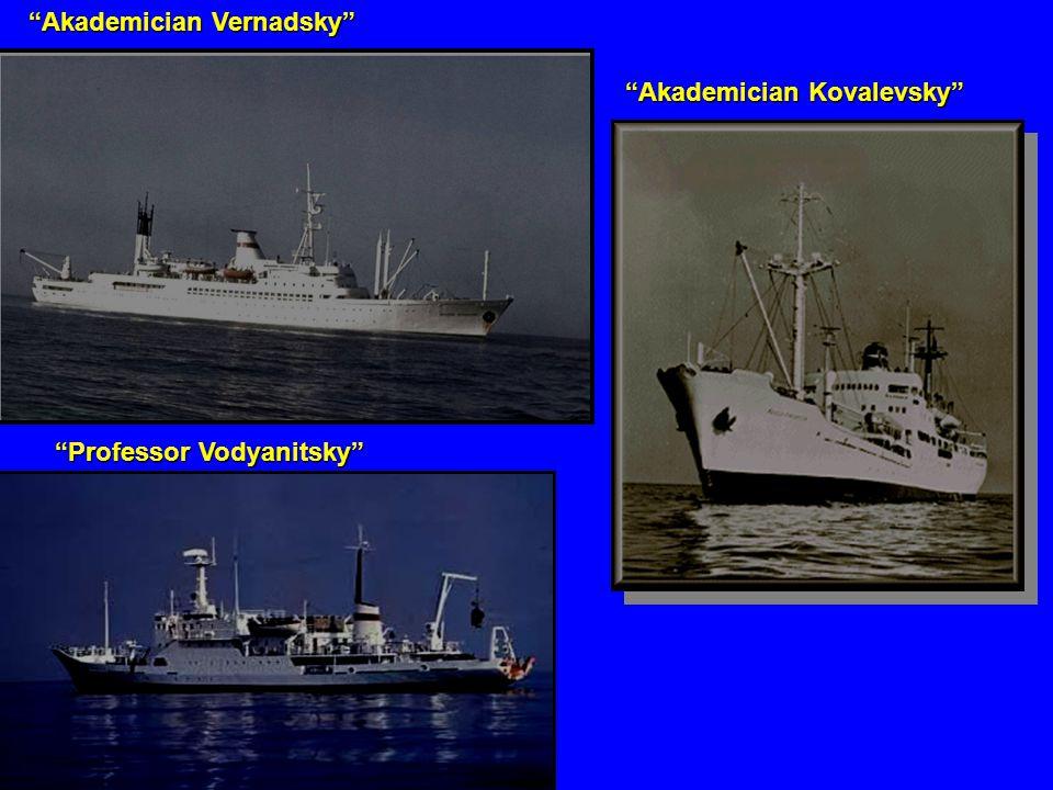 """""""Akademician Vernadsky"""" """"Professor Vodyanitsky"""" """"Akademician Kovalevsky"""""""