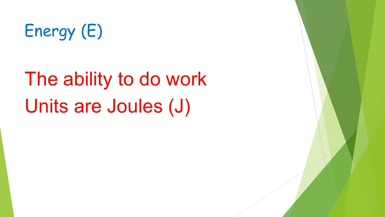 Energy (E) The ability to do work Units are Joules (J)