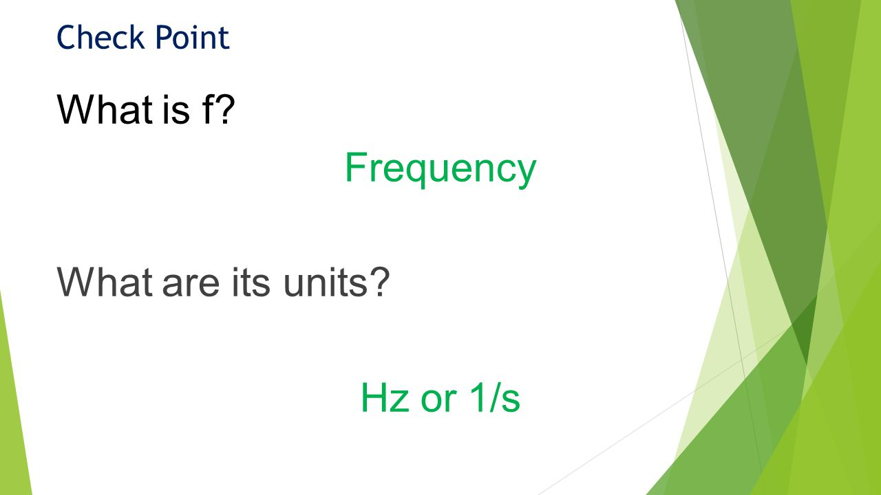 Check Point What is f Frequency What are its units Hz or 1/s