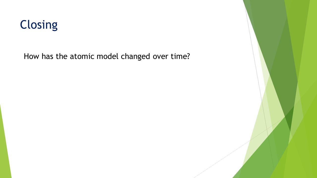 Closing How has the atomic model changed over time