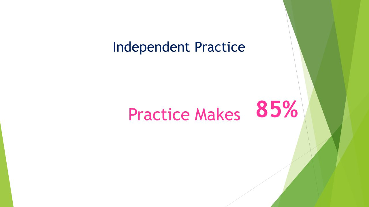 Independent Practice Practice Makes 85%