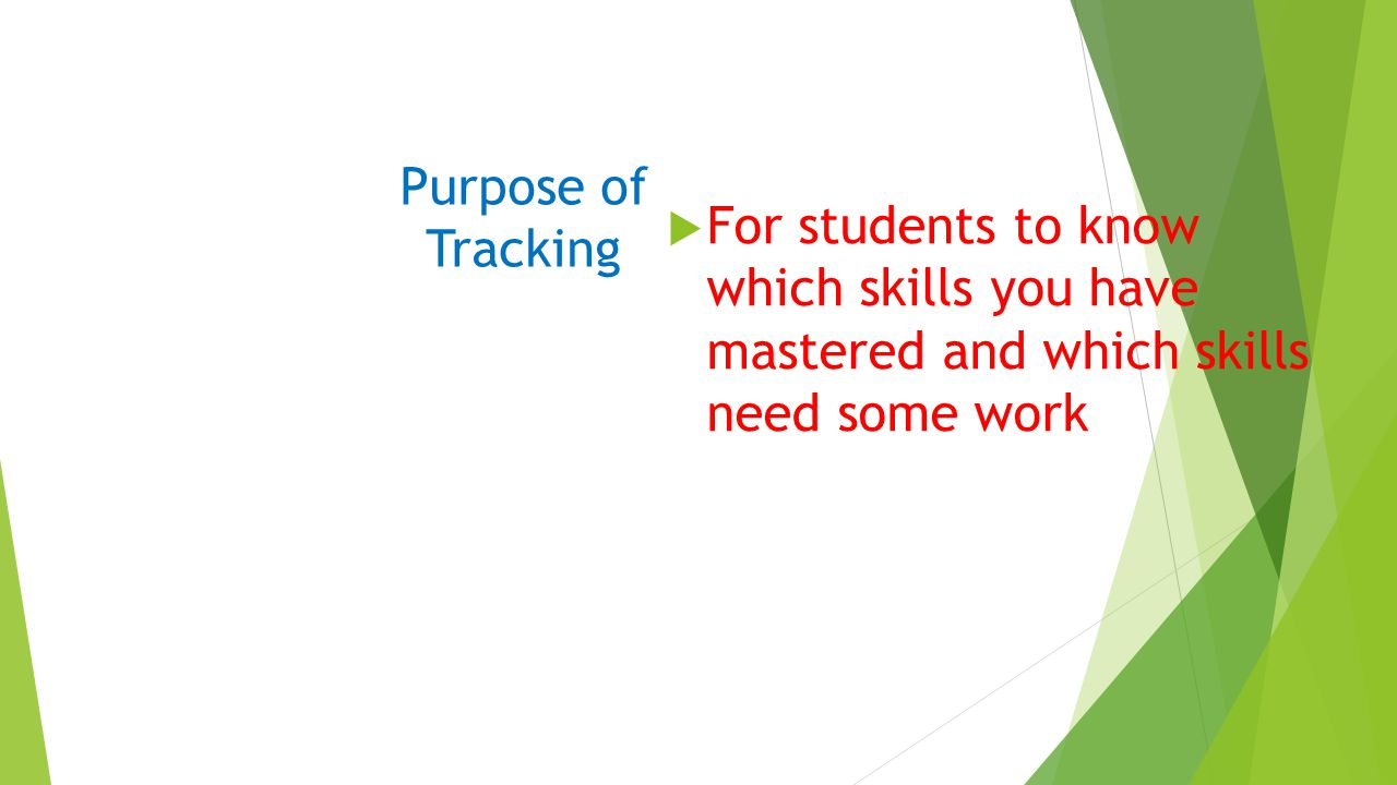 Purpose of Tracking  For students to know which skills you have mastered and which skills need some work