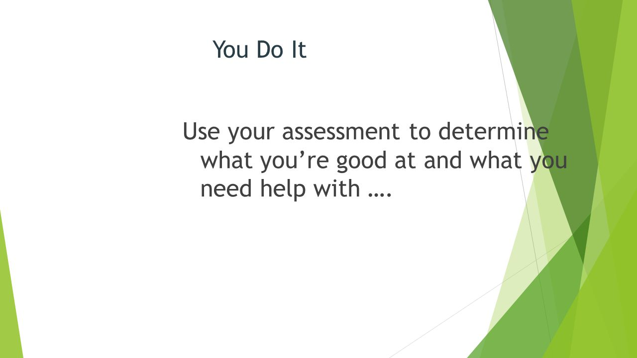 You Do It Use your assessment to determine what you're good at and what you need help with ….
