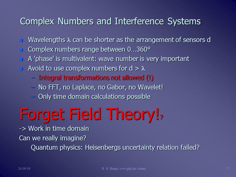 26/09/06© G. Heinz, www.gfai.de/~heinz16 Complex Numbers in Interference Systems ImRe  = vt = v/f = vt = v/f d sensor sensor Problems for d > : 0°< 