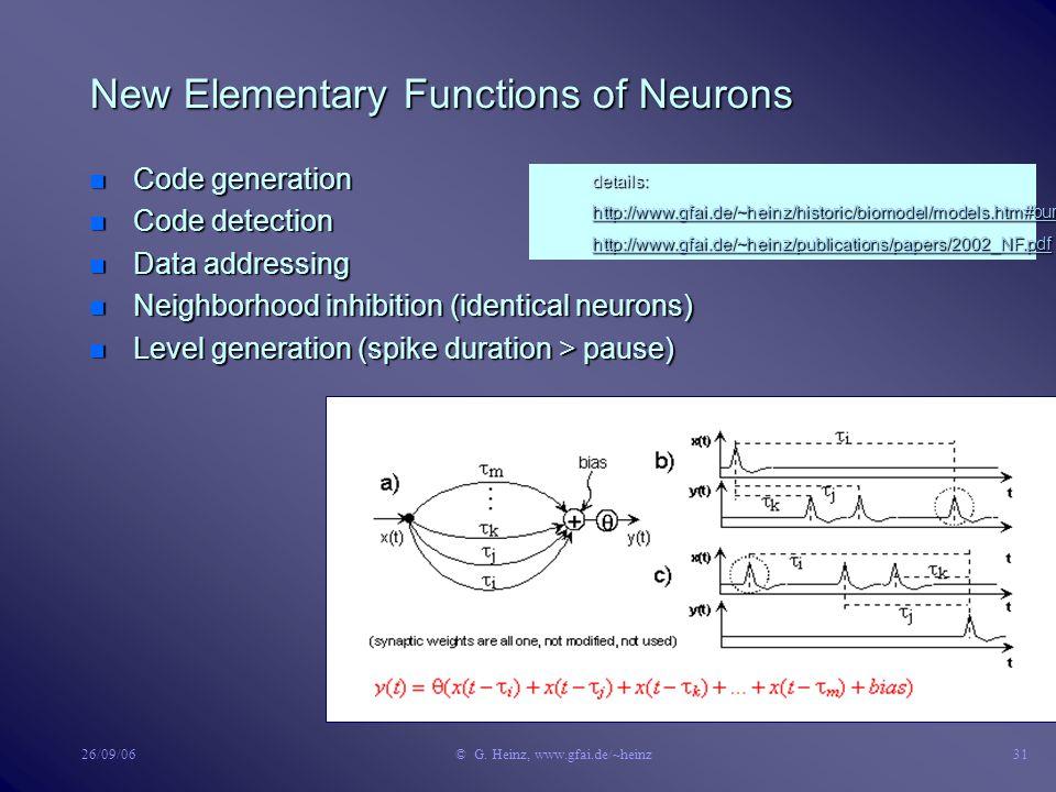 26/09/06© G. Heinz, www.gfai.de/~heinz30 Understanding Bursts n Circuit (a) n Burst generation with low bias (b) n Code detection with high bias (c) n