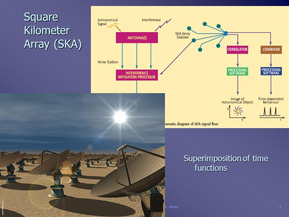 26/09/06© G. Heinz, www.gfai.de/~heinz7 Radio Telescopes n Two directions: –Superimposition of I² (images) - VLA –Superimposition of time functions -