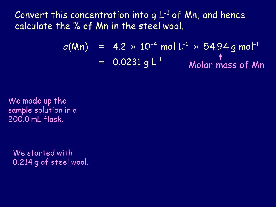 Convert this concentration into g L -1 of Mn, and hence calculate the % of Mn in the steel wool.
