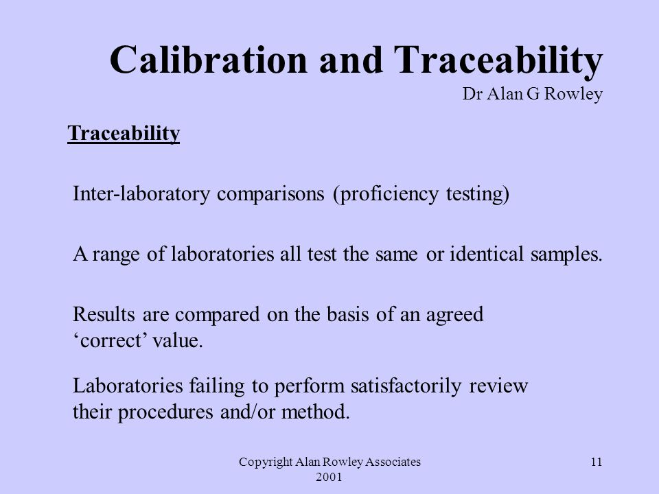 Copyright Alan Rowley Associates 2001 11 Calibration and Traceability Dr Alan G Rowley Traceability Inter-laboratory comparisons (proficiency testing) A range of laboratories all test the same or identical samples.