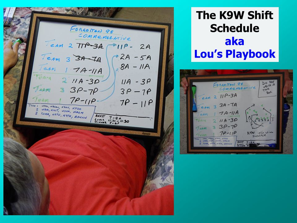 The K9W Shift Schedule aka Lou's Playbook