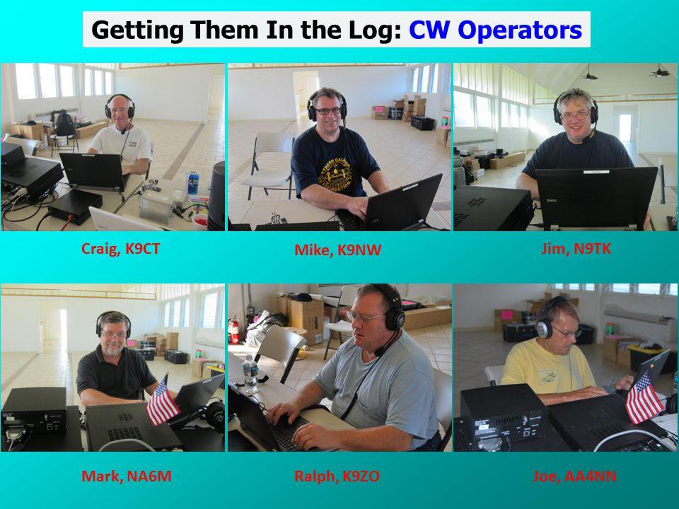Getting Them In the Log: CW Operators Craig, K9CT Mike, K9NW Jim, N9TK Mark, NA6MRalph, K9ZOJoe, AA4NN