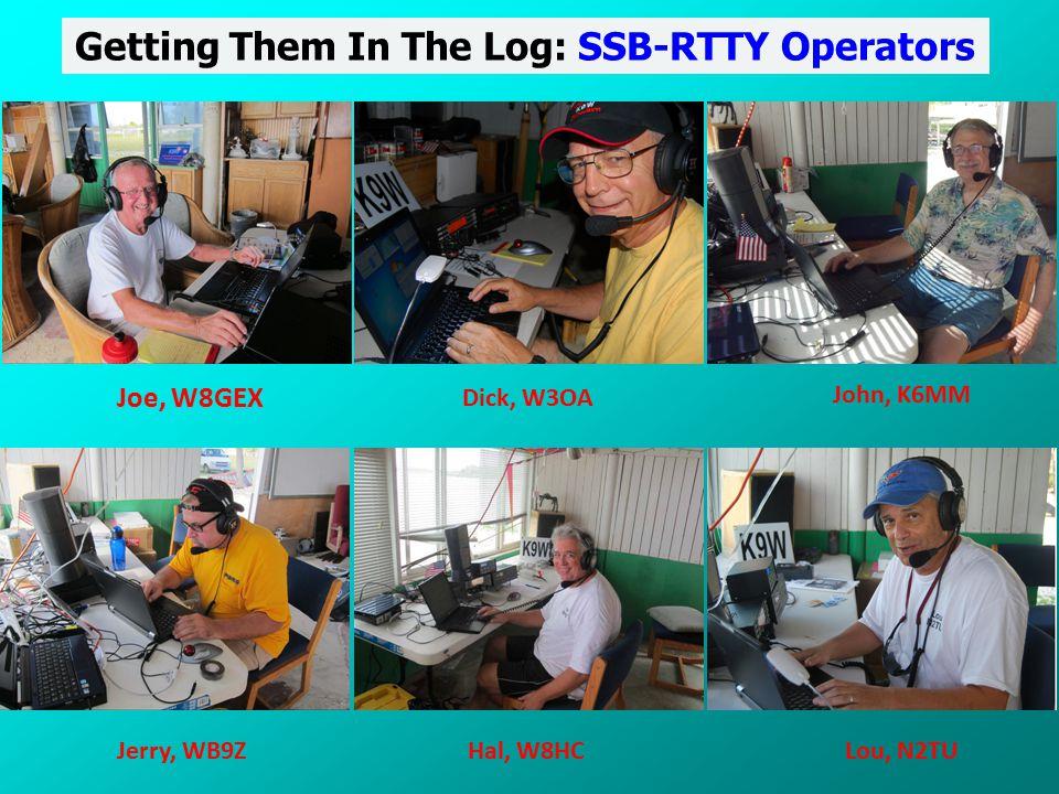 Getting Them In The Log: SSB-RTTY Operators Joe, W8GEX Dick, W3OA John, K6MM Jerry, WB9ZHal, W8HCLou, N2TU