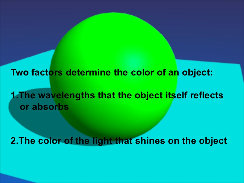 Two factors determine the color of an object: 1.The wavelengths that the object itself reflects or absorbs 2.The color of the light that shines on the object