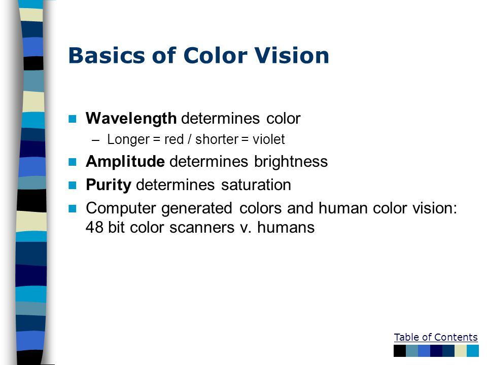 Table of Contents Basics of Color Vision Wavelength determines color –Longer = red / shorter = violet Amplitude determines brightness Purity determine