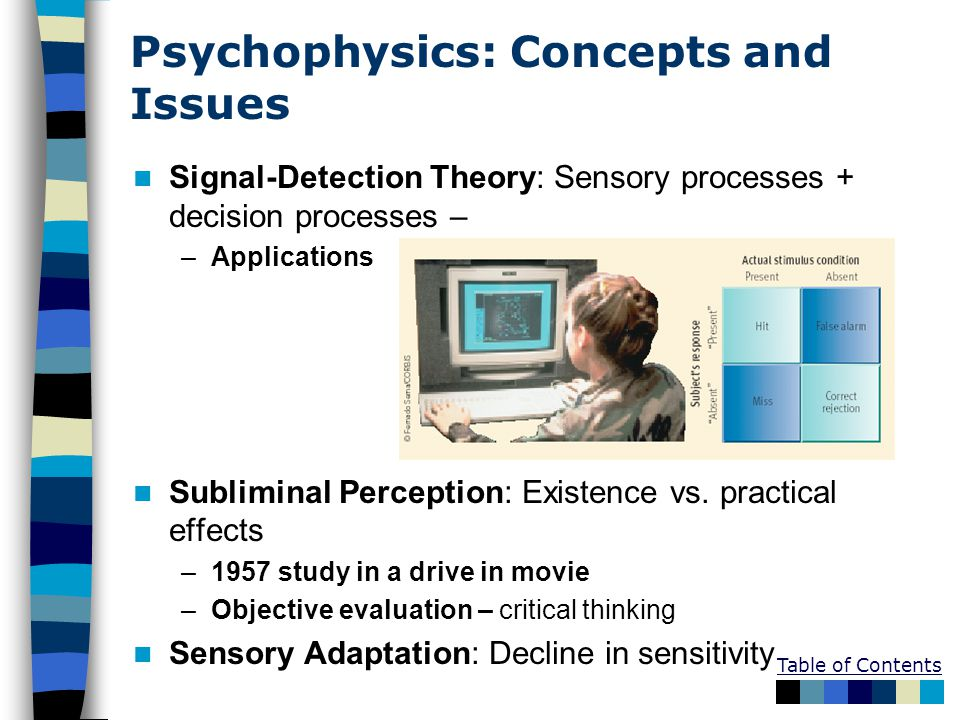 Table of Contents Psychophysics: Concepts and Issues Signal-Detection Theory: Sensory processes + decision processes – –Applications Subliminal Perception: Existence vs.
