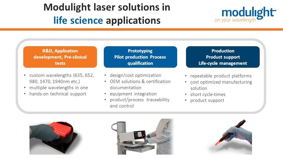 Modulight laser solutions in life science applications custom wavelengths (635, 652, 980, 1470, 1940nm etc.) multiple wavelengths in one hands-on tech